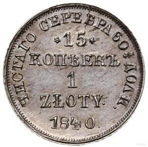 15 kopiejek = 1 złoty, 1840 НГ, Petersburg; kropka po dac...