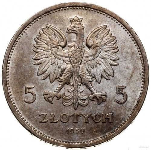 5 złotych, 1930, Warszawa; sztandar - Setna Rocznica Po...