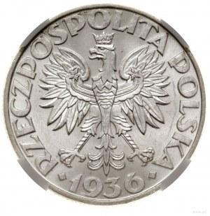 5 złotych, 1936, Warszawa; Żaglowiec; Kop. 2962 (R), Pa...