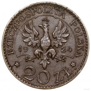 20 złotych, 1924, Warszawa; Orzeł / Monogram II RP w wi...