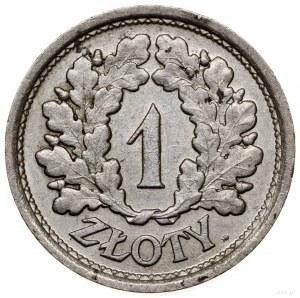 1 złoty, 1928, Warszawa; nominał w wieńcu dębowym, bez ...