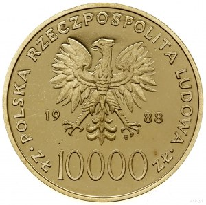 10.000 złotych, 1988, Warszawa; Jan Paweł II - X Lat Po...