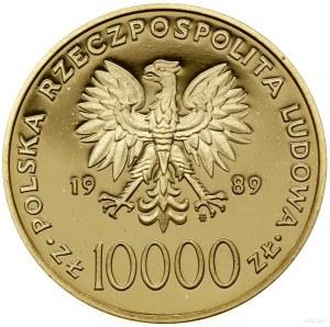 10.000 złotych, 1989, Warszawa; Jan Paweł II /popiersie...