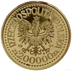 200.000 złotych, 1991, Warszawa; popiersie Jana Pawła I...