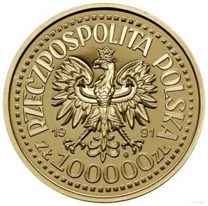100.000 złotych, 1991, Warszawa; popiersie Jana Pawła I...
