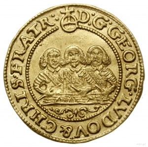 Półdukat, 1656, Brzeg; Aw: Półpostacie trzech braci i n...