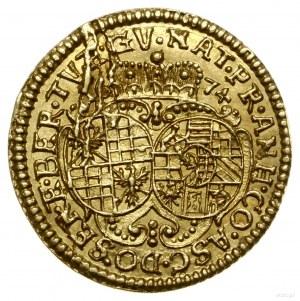 1/4 dukata, 1674, Brzeg; Aw: Popiersie lekko zwrócone w...