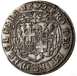 15 krajcarów, 1679 LPH, Nysa; odmiana z głową przerywaj...