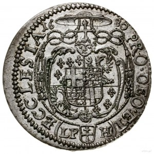 6 krajcarów, 1680 LPH, Nysa; wariant z mniejszym popier...