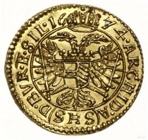 1/6 dukata, 1674 SHS, Wrocław; Aw: Popiersie władcy zwr...