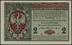 """2 marki polskie, 9.12.1916; """"jenerał"""", seria A, numerac..."""
