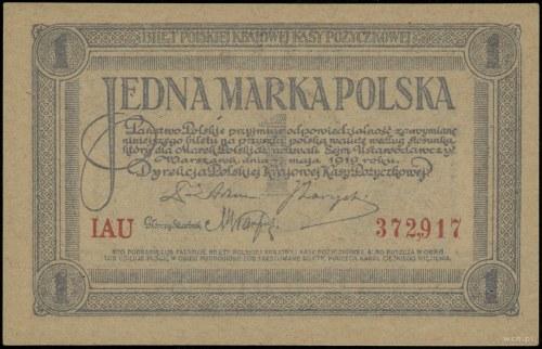 1 marka polska, 17.05.1919; seria IAU, numeracja 372917...