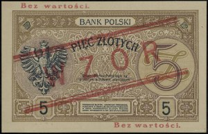 5 złotych, 15.07.1924, II emisja, seria A, numeracja 75...