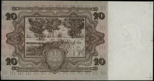 Brązowa próba kolorystyczna banknotu 10 złotych emisji ...