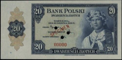 20 złotych, 20.08.1939; numeracja 00000, czerwony ukośn...