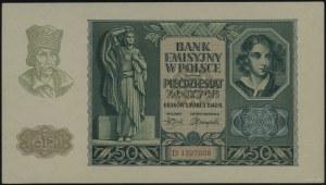 50 złotych, 1.03.1940; seria D, numeracja 1327008; Luco...