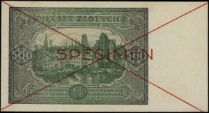 500 złotych, 15.01.1946; seria zastępcza Dz 1234567 / D...