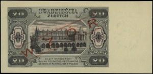 20 złotych, 1.07.1948; seria DL, numeracja 0000002 obus...