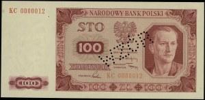 100 złotych, 1.07.1948; seria KC, numeracja 0000012, pe...