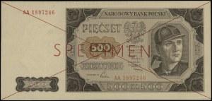 500 złotych, 1.07.1948; seria AA, numeracja 1897246, cz...