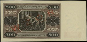 500 złotych, 1.07.1948; seria BG, numeracja 0000012, po...