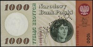 1.000 złotych, 29.10.1965; seria L, numeracja 0000004, ...