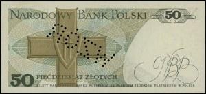 50 złotych, 9.05.1975; seria A, numeracja 0000011, perf...