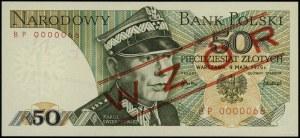 """50 złotych, 9.05.1975; czerwony ukośny nadruk """"WZÓR"""" / ..."""