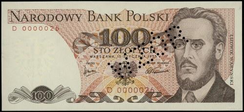 """100 złotych, 15.01.1975; ukośna perforacja """"WZÓR"""" (tzw...."""