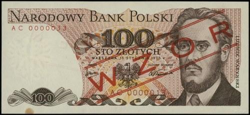 """100 złotych, 15.01.1975; czerwony ukośny nadruk """"WZÓR"""" ..."""