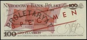 """100 złotych, 1.06.1979; czerwony ukośny nadruk """"WZÓR"""" /..."""