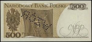 """500 złotych, 16.12.1974; ukośna perforacja """"WZÓR"""" (tzw...."""