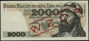 """2.000 złotych, 1.05.1977; czerwony ukośny nadruk """"WZÓR""""..."""