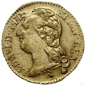 Louis d'or, 1786 A, mennica Paryż; Aw: Głowa króla w le...