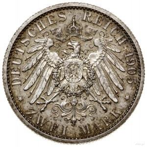 2 marki, 1905 A, mennica Berlin; AKS 85, Jaeger 91; wyb...
