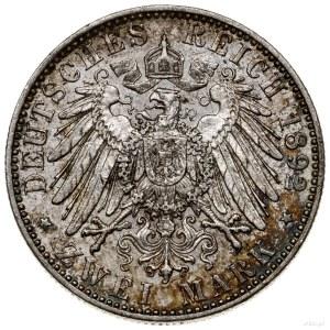 2 marki, 1892 A, mennica Berlin; AKS 21, Jaeger 117; na...