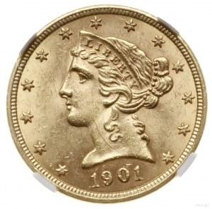 5 dolarów, 1901, mennica Filadelfia; typ Liberty with C...