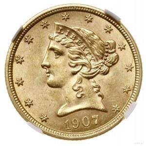 5 dolarów, 1907, mennica Filadelfia; typ Liberty with C...