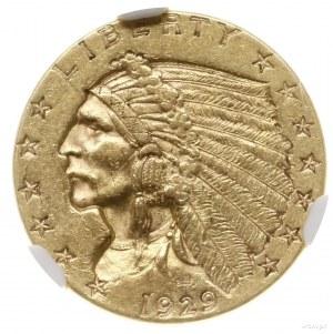 2 1/2 dolara, 1929, mennica Filadelfia; typ Indian Head...