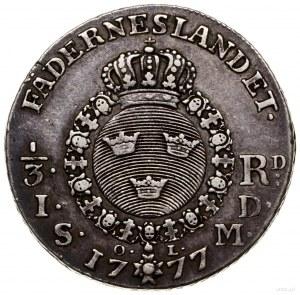 1/3 talara (riksdalera), 1777, mennica Sztokholm;; SM 6...