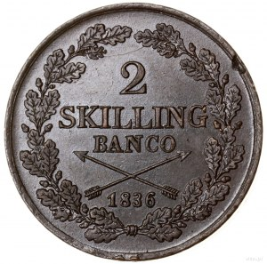2 skilingi (skilling banco), 1836, mennica Sztokholm; S...