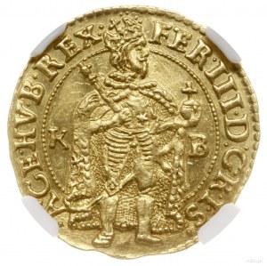 Dukat, 1656 KB, mennica Kremnica; Aw: Postać króla stoj...
