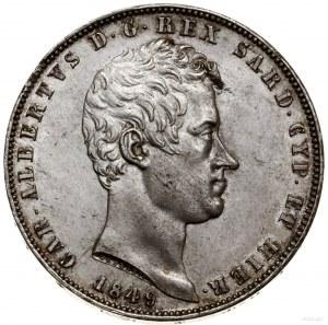 5 lirów, 1849, mennica Genua; oznaczenie mennicy - kotw...