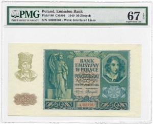 50 złotych 1940 - A - PMG 67 EPQ - MAX nota