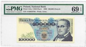 100.000 złotych 1990 - seria AA - PMG 69 EPQ -