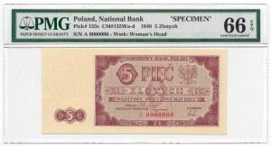 5 złotych 1948 - A 000000 - WZÓR - RZADKOŚĆ - PMG 66 EPQ
