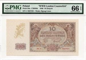 10 złotych 1940 - seria L. - WWII London Counterfeit - PMG 66 EPQ