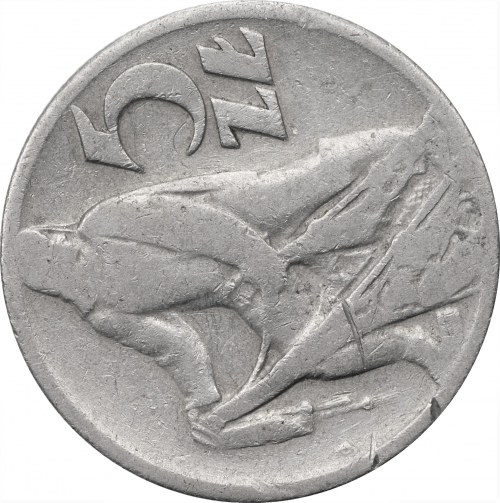 PRL - 5 złotych 1959 - Rybak - skrętka około 90 stopni