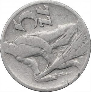 5 złotych 1959 - Rybak - skrętka około 90 stopni