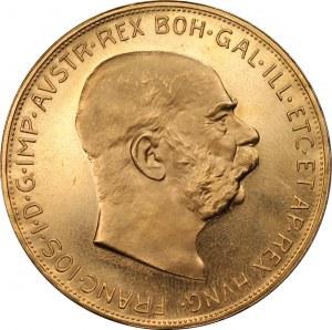 AUSTRIA - 100 koron 1915 - Nowe Bicie - Złoto 900, 33,86 gram
